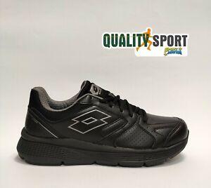Lotto Speedride 609 IX Pelle Nero Scarpe Uomo Sportive Running 215683 1H8
