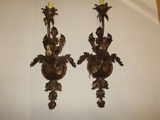 OLD WORLD HUGE 27 INCH TALL DESIGNER ELECTRIC WALL SCONE PAIR BY BREE ORG 480.00