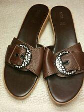 Marks & Spencer leather upper wedge sandals slides mules slipon Brown size 8 New