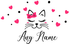 Personalised Any Name Kitty Hearts Wall Art Stickers