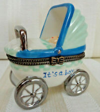 "Porcelain Baby Carriage Trinket Box ""It's a boy"""