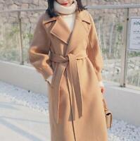 Women Winter Warm Wool Lapel Long Trench Thickened Jacket Overcoat Outwear Coat