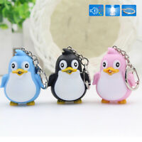 KQ_ Cute Animal Penguin LED Light With Sound Key Chain Keyring Ring Gift