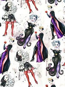 Disney Character Stretchy Fabric Cruella De Ville Wicked Queen