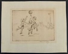 "Eileen A. Soper Hand Signed Artist's Proof Etching ""Net Ball"" C.1923 With COA"