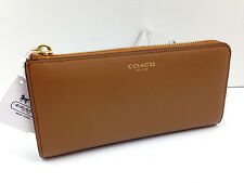 NWT Coach 50923 Saffiano Leather Slim Envelope Brindle Brown Clutch Wallet