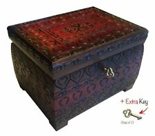 Polish Handmade Burned Chest w/Lock & Key Wooden Jewelry Heart Love Keepsake Box