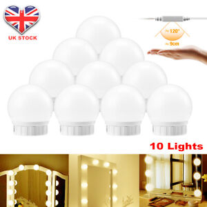 Hollywood LED Vanity Mirror Lights Kit 10 Dimmable Bulbs For Makeup Dressing UK