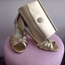 USA Label Touch Ups Gold Metallic Evening Shoes And Bag Size 8 1/2W