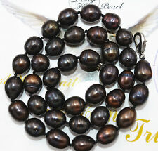 New NATURAL 10-11MM unique TAHITIAN RICE BLACK PEARL NECKLACE 18""