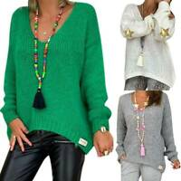Womens Long Sleeve V Neck Loose Knitted Sweater Tops Ladies Casual Baggy Blouse