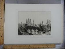 Rare Antique Original VTG 1877 Tournai Castle Engraving Art Print