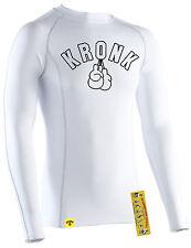 KRONK Long Sleeve Performance Baselayer Compression Wear T Shirt White