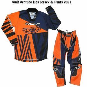WULF 2021 KIDS VENTUNO MOTOCROSS KART  JERSEY PANTS PROTECTIVE CLOTHING ORANGE