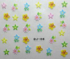 Nail art stickers bijoux d'ongles manucure: Fleurs - étoiles - multicolores
