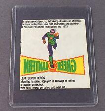 Vintage DC Comics Hoja Bubble Gum Tatuaje Linterna Verde 1975