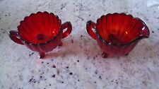 Glass Ruby Red 3 Footed  Creamer & Sugar Bowl Red Pillar Flute Design