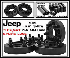 4 Jeep 5x5 Black Hub Centric Wheel Spacers + 20 Black Spline Lug Nuts 1/2-20