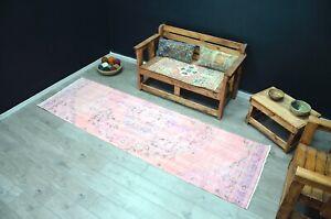 Pink Faded Runner Rug, Vintage Turkish Runner, 9 ft Pink Overdyed Runner, 1144