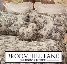 New! Luxury 100% Cotton Toile Dove Grey White French Vintage Duvet Cover Set 3pc