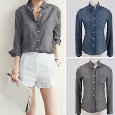 Women's Casual Loose Style Cotton Linen Blouse Long Sleeve Shirt Top Novelty