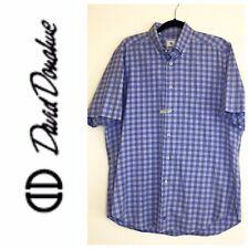 David Donahue Mens Shirt  S/S Button Front White, Purple Large L