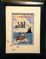 """RARE HERGÉ + TINTIN COUVERTURE """" L'ÎLE NOIRE """" EN RELIEF ( PIÈCE UNIQUE )"""