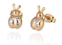 18 k Gold Plated Stud Earrings for Small Girls or Women White Ladybirds E753