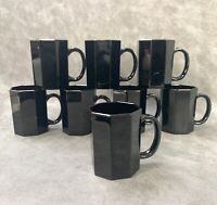 Set of 8 ARCOROC France OCTIME Black Glass Coffee Mugs Cups 8 sided octagon VTG