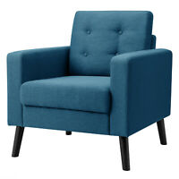Modern Tufted Accent Chair Fabric Armchair Single Sofa with Back Cushion Blue