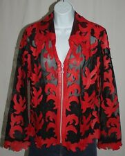 Unique Red Leather Leaf Leaves on Sheer Black Mesh Lightweight Zip L/S Jacket