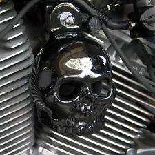 Skull Horn Cover. Gloss black. Harley Davidson. SKU-GBS-1