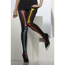 Ladies Adult Neon Print Opaque Skeleton Tights Fancy Dress Costume Halloween