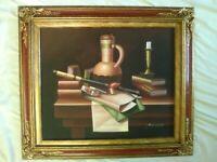 Vintage Original Oil Painting Still Life Desk Books Pipe Candle Vase / A. Warner
