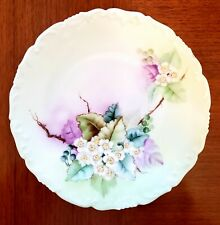 T&V Limoges France Hand Painted White Flowers Plate