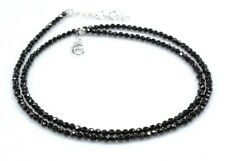 "Black Spinel Necklace Sterling Silver 3 mm 18"" Jewelry Birthday Gift b938"