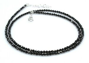 """Black Spinel Necklace Sterling Silver 3 mm Beads 18"""" Jewelry Birthday Gift b938"""