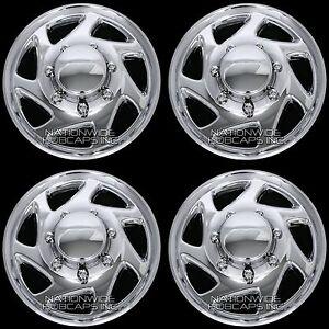 """4 CHROME E150 E250 Econoline Van 16"""" Full Wheel Covers Hub Caps Rim Simulators"""