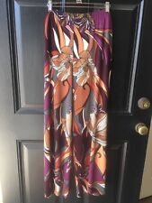 New Chico's Travelers Baroque Floral Palazzo Pants Dark Mulberry 2 = L 12 14 NWT