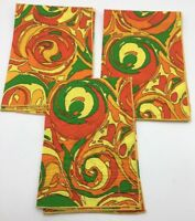 3 Vintage Mid Century Modern MOD Psychedelic Napkins Orange Yellow Green Black
