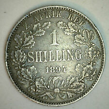 1894 Silver South Africa One 1 Shilling African Coin VF