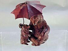Rare Austrian Cold Painted Mama & Baby Bear Under Umbrella FigurineFranz Bergman