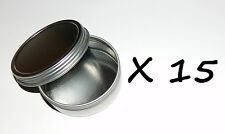 15 X 2-oz Round Shallow Metal Survival & Crafts Screw-Top Lid Tin Can Container