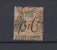 Straits Settlements QV 1867 8c On 2a Yellow SG6 Fine Used JK860