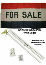 3x5 Advertising For Sale Red White Blue Flag White Pole Kit Set 3'x5'