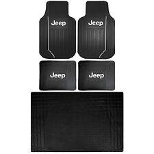 Jeep LIcense Elite Front Rear Rubber Floor & Black SCargo Mat Universal