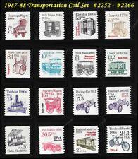 RJames: US 2252 - 2266, 1987-88 Transportation coil set (16 stamps), MNH, F/VF