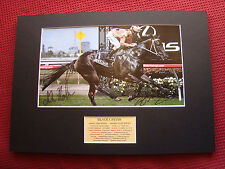 BLACK CAVIAR - PETER MOODY & LUKE NOLEN HAND SIGNED A3 MOUNTED PHOTO DISPLAY-COA