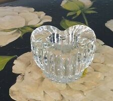 Small Vintage Heart Shaped  Art Glass Crystal Pillar Candle Holder