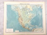 1894 Antik Map Of North America Kanada USA Physical Alte 19th Jahrhundert French